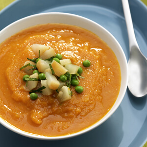 Carrot Soup with Pear Pea and Mint Relish