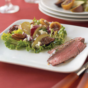 Flank Steak with Pear Fig Salad