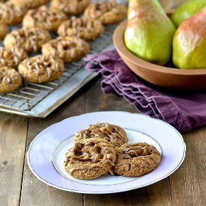 Pear Ginger Thumbprints with Caramel Drizzle