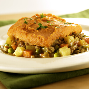 Shepherd's Pie with Turkey Pear and Sweet Potatoes