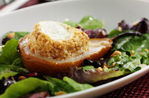 Warm Peanut Crusted Goat Cheese with Roasted Pear