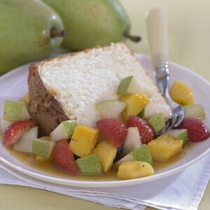 Orange Angel Food Cake with Tropical Pear Salsa