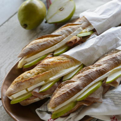 shaved ham and pear sandwich