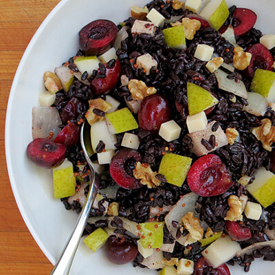 Black rice, cherry and pear salad