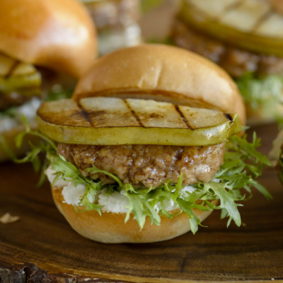 Turkey sliders with grilled pears