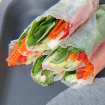 pear vegetable summer rolls