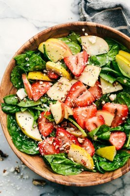 Strawberry, Apple, and Pear Spinach Salad